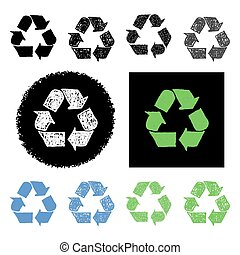 Vector set collection of hand drawn recycling symbols web buttons and icons