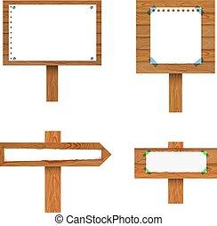 vector, set, collection., vrijstaand, papier, signposts, bladen