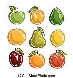 Vector Set colorful Fruits icons