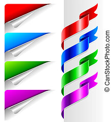 Vector set - Colors bent paper corners and ribbon
