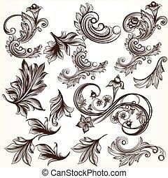 vector, set, communie, calligraphic