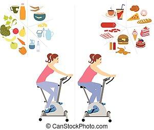 vector, set., concept, dieet, vrouw