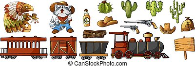 Vector Set Cowboy and Wild West Labels and Sticker Elements in Cartoon Style