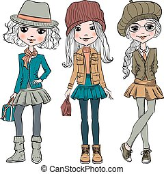 Vector set cute fashion hipster girl