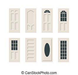 vector, set, deuren
