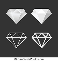vector, set., diamante, emblema, icono