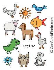 vector, set, dieren, spotprent