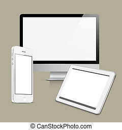 Vector set digital devices on grey background