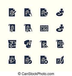 vector, set, documenten, wettelijk, pictogram