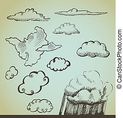 vector set: drawn by hand clouds