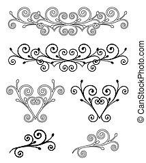 vector, set, elements., illustratie, elegantie
