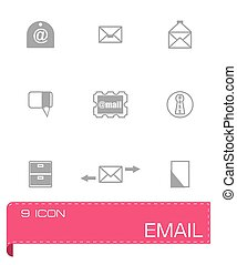 vector, set, email, pictogram