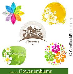 vector, set, etiketten, -, emblems, bloem