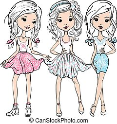 Vector set fashion cute happy girls - Set cute smiling...