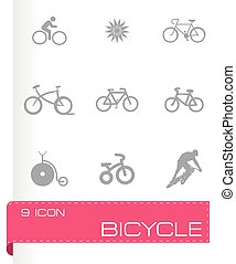 vector, set, fiets, iconen