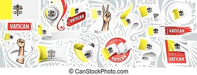 Vector set flag of Vatican in various creative designs