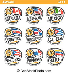 Vector set Flags of American Countries with Basketball Ball