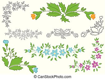 vector set - floral elements for design