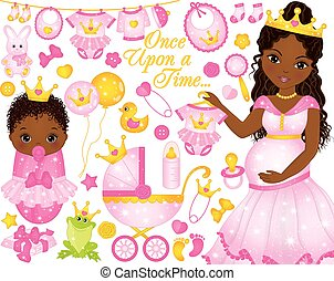 Vector Set for Baby Girl Shower with Pregnant African...