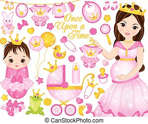 Vector Set for Baby Girl Shower with Pregnant Woman and Baby Girl Dresses as Princesses