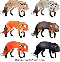 Vector set foxes
