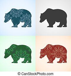 Vector Set from Bear with Mandala Patterns