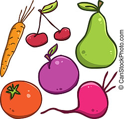 Vector set. Fruits and vegetables