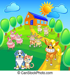 Vector cartoon happy farm animals and pets smile on the summer field front of house. EPS 10. Contains transparency, blend, gradients.