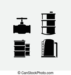 vector, set, gas, icons., olie