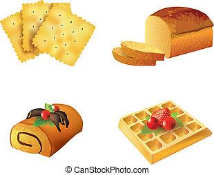 vector, set, gebakje, voorwerpen