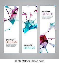 Vector set geometric polygonal banners. Technology modern business template.