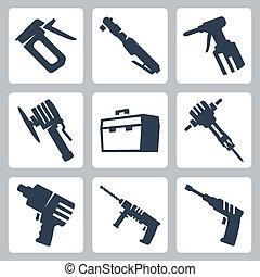 vector, set, gereedschap, macht, iconen