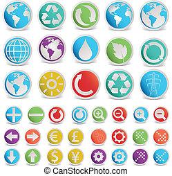 vector, set, gevarieerd, vormen, symbolen