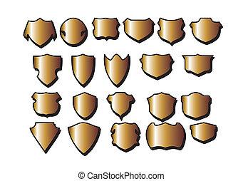 Vector set gold framed labels