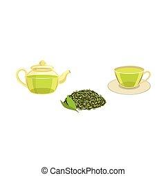 Vector set - green leaf tea , teapot ,cup of tea