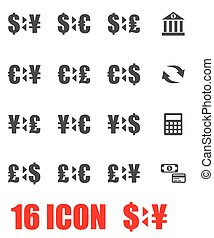 vector, set, grijze , bank, pictogram