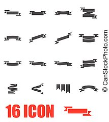 vector, set, grijze , lint, pictogram
