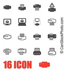 vector, set, grijze , printer, pictogram