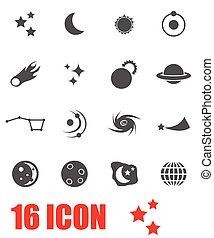 vector, set, grijze , ruimte, pictogram
