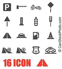 vector, set, grijze , straat, pictogram