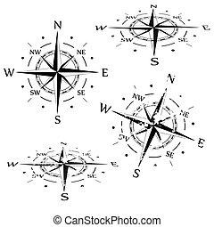vector, set, grunge, kompas