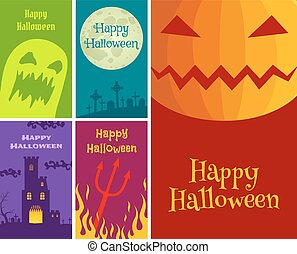 set Halloween greeting cards