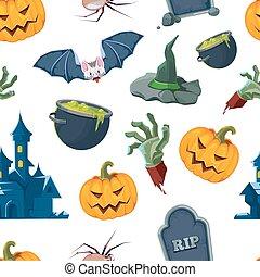 vector, set, halloween, illustratie, iconen