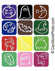 vector, set, halloween, pictogram