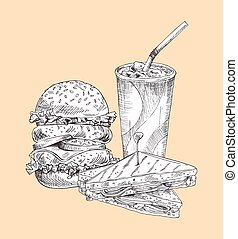 vector, set, hamburger, broodje, illustratie
