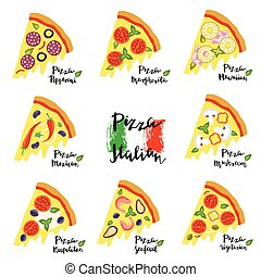 Vector set hand drawn slices of pizza popular varieties.
