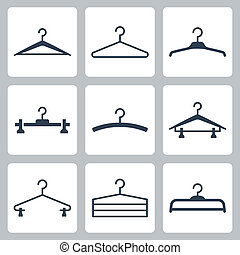 vector, set, hangers, iconen