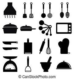 vector, set, het koken, pictogram