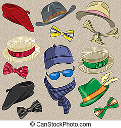 vector set hipster accessories - set hipster hats, scarves,...