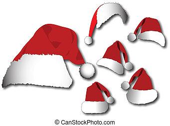 vector, set, hoedje, rood, kerstman